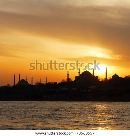 Hagia Sophia and Blue Mosque on sunset in Istanbul - stock photo