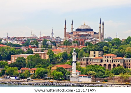 Hagia Sophia and Istanbul, view from Bosporus strait - stock photo