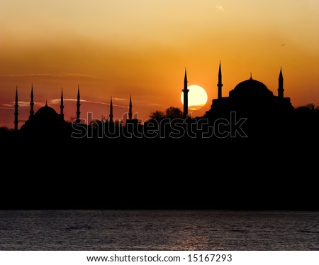 Hagia Sophia and The Blue Mosque during sunset in Istanbul Turkey - stock photo
