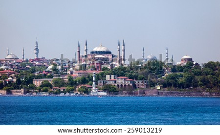 Hagia sophia and The Blue Mosque, (Sultanahmet Camii), Istanbul, Turkey  - stock photo