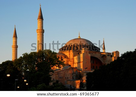 Hagia Sophia (Ayasofya) is a christian church, later a mosque, now a museum in Istanbul, Turkey