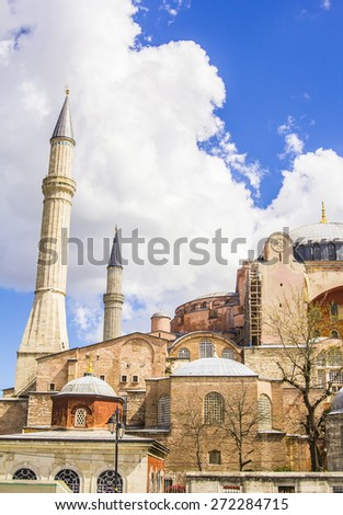 Hagia Sophia in Istanbul on a background of clouds and blue sky - stock photo