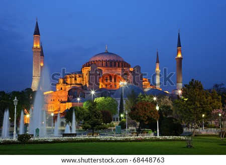 Hagia Sophia in Istanbul, once a byzantine church constructed by emperor Justinian, later, a mosque during the Ottoman empire and nowadays a museum. - stock photo