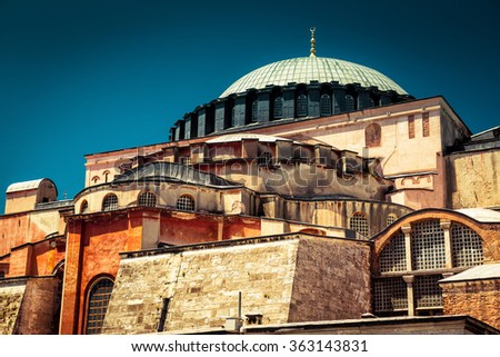 Hagia Sophia in Istanbul, Turkey. Basilica of Hagia Sophia is the greatest monument of Byzantine Culture. - stock photo