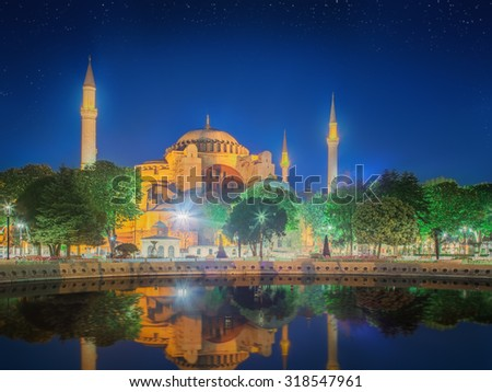 Hagia Sophia in Istanbul, Turkey early at the night.