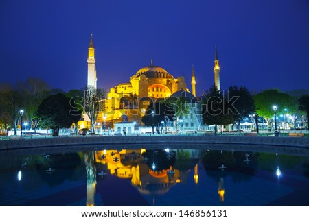 Hagia Sophia in Istanbul, Turkey early in the night - stock photo