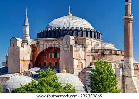 Hagia Sophia in Istanbul, Turkey. Hagia Sophia is the greatest monument of Byzantine Culture. - stock photo