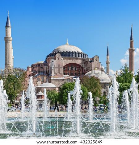Hagia Sophia in Istanbul, Turkey. Hagia Sophia is the greatest monument of Byzantine Culture. - stock photo