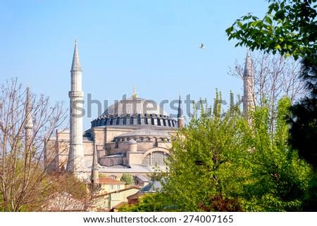 Hagia Sophia in Springtime - stock photo