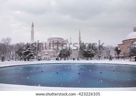Hagia Sophia in winter - stock photo