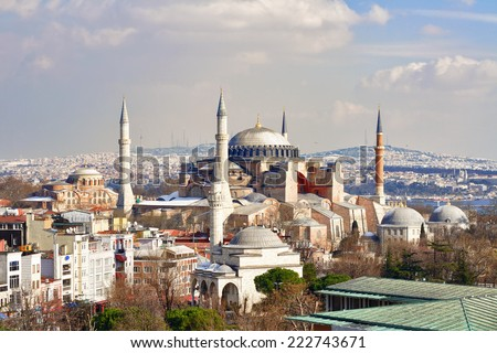 Hagia Sophia in Winter. St Sophia was the largest cathedral of the world for 1000 years as of its construction. - stock photo