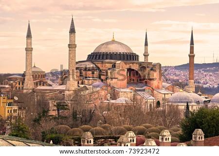 Hagia Sophia mosque in sultanahmet, Istanbul, Turkey. - stock photo