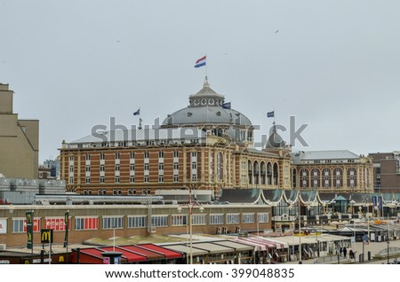 HAGUE, NETHERLANDS - MARCH 23: The Dutch beach resort with famous Kurhaus hotel, view on March 23th 2016. in the Hague (Den Haag), Netherlands (Holland)