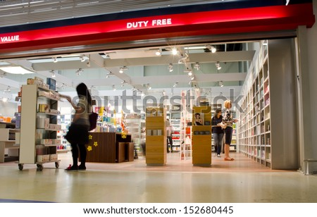HAHN, GERMANY - JUNE 15: a duty free shop on June 15, 2013 in Frankfurt-Hahn Airport, Germany. Frankfurt-Hahn Airport carried 3.79m passengers in 2010, the 98th busiest in Europe and 12th in Germany. - stock photo