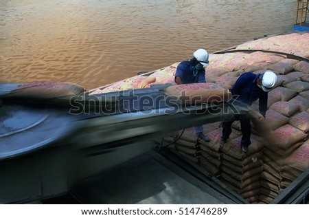 HAI DUONG, Vietnam, August 23, 2016 workers, Hoang Thach cement plant, Hai Duong, cement transport conveyor