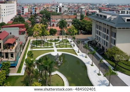 HAI DUONG, Vietnam, September 17, 2016 downtown Hai Duong, Vietnam, seen from above, urban areas