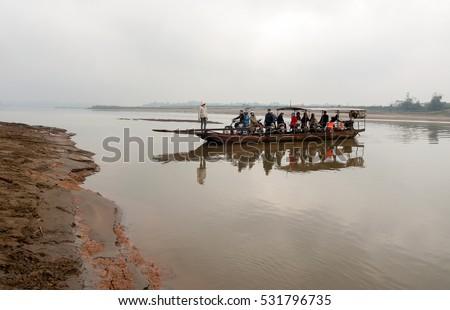 HAI DUONG, Vietnam, September 15, 2016 passenger boat trip across the river, countryside Hai Duong, Vietnam