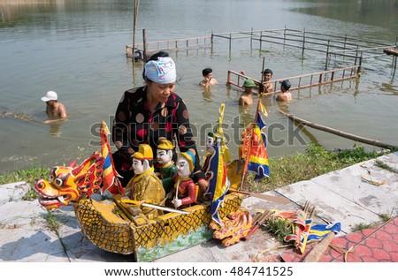 HAI DUONG, Vietnam, September 18, 2016 the woman, preparing water puppetry, memorial general Tran Hung Dao, relic Con Son, Kiep Bac, Hai Duong, Vietnam
