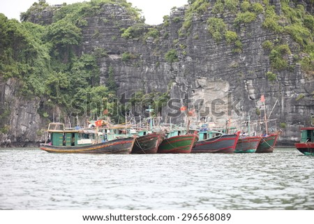 Hai Phong, Viet Nam, July 12, 2015, Fishermen village in CatBa Island. Fisheries here well developed fishing. Tourists can visit the island to visit the fishing villages with very cheap costs