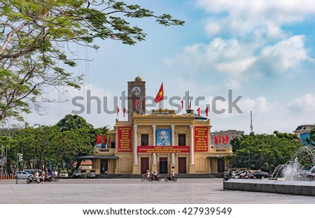 HAI PHONG, VIETNAM, May 29, 2016 Building, downtown Hai Phong, Vietnam. Because French architect who built