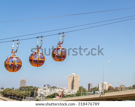 Haifa Cable Cars, view of the city - stock photo