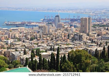 Haifa Israel city and harbor view from the Bahai gardens. Mediterranean, Israel - stock photo