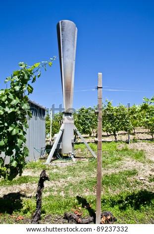 Hail cannon in Italian vineyard, Monferrato and Langhe area, Piemonte region. - stock photo