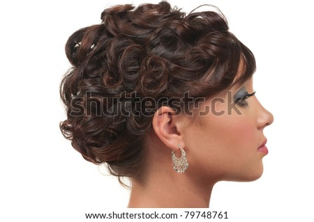 Hair and make up for prom, wedding or party - stock photo