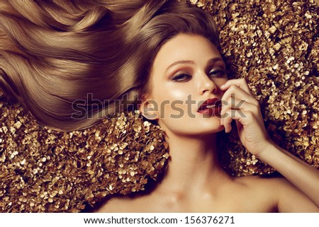 Hair. Beautiful brown hair Girl. Healthy Long Hair. Beauty Model Woman. Hairstyle - stock photo