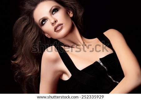 Hair. Beautiful brown hair Girl. Healthy Long Hair. Beauty Model Woman. Hairstyle - stock photo