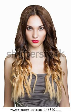 Hair. Beautiful Brunette Girl. Healthy Long Brown Hair. Beauty M - stock photo