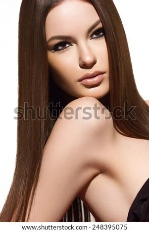Hair. Beautiful Brunette Girl. Healthy Long Hair. Beauty Model Woman. Hairstyle - stock photo