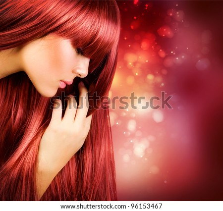Hair.Beautiful Girl with Healthy Long Straight Hair - stock photo