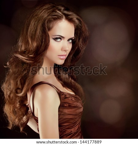 Hair. Beautiful Sexy Brunette Woman. Healthy Long Brown Hair. Beauty Model Girl. - stock photo