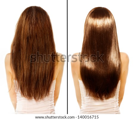 Hair. Before and After Advertising Portrait. Hairstyle. Haircare. Damaged Hair Treatment - stock photo