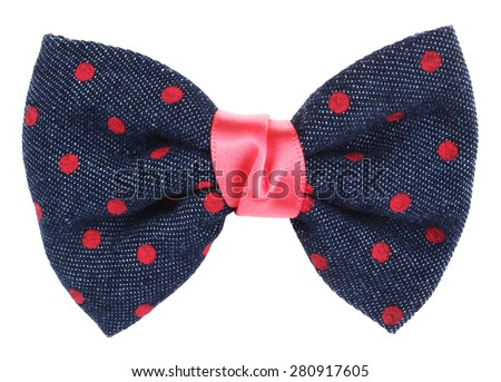 Hair bow tie blue with pink dots - stock photo