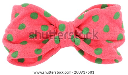 Hair bow tie pink with green dots - stock photo