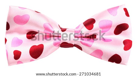 Hair bow tie pink with red hearts of  love - stock photo