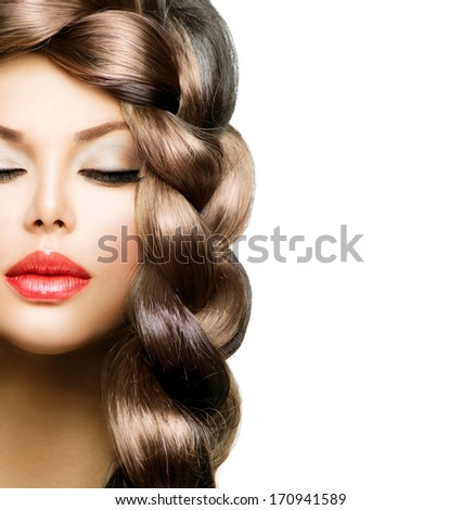 Hair Braid. Beautiful Model Woman with Healthy Long Brown Hair. Hairdressing. Hairstyle. Braided Hair. Beauty Stylish Girl with Perfect Makeup close up and hair style - stock photo