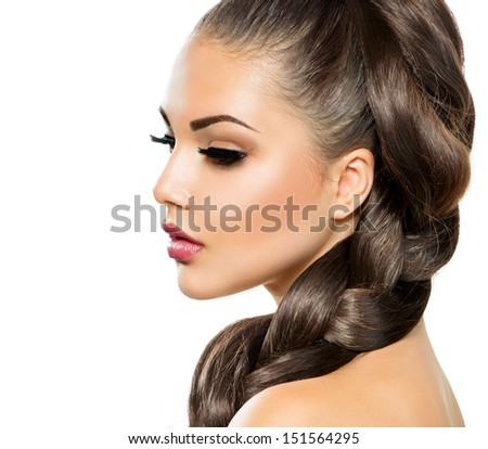Hair Braid. Beautiful Woman with Healthy Long Hair. Hairdressing. Hairstyle. Beauty Makeup. Fashion Model Girl Portrait isolated on a White Background - stock photo