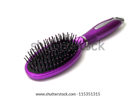 Hair Brush, Metallic Purple isolate - stock photo