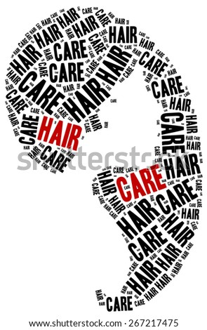 Hair care. Word cloud illustration related to hairdressing.