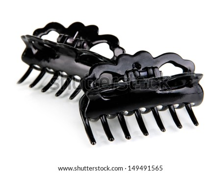 Hair clips, isolated on white - stock photo