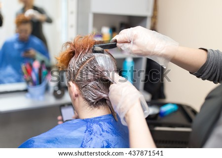hair coloring in the beauty salon - stock photo