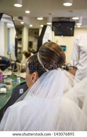 hair dressing for wedding - stock photo