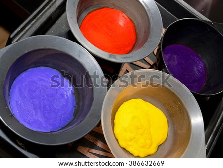 Hair dye in bowls.  Hair coloring - stock photo