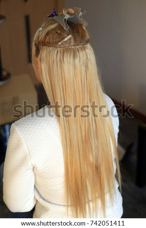 Hair sewn on pigtail hair extensions stock photo 608908691 hair extensions truss sewing hollywood build up with pigtail hair extensions in pmusecretfo Gallery