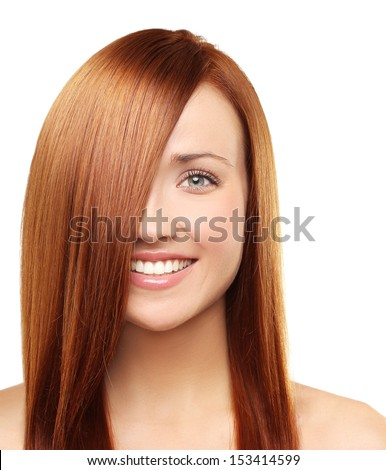 Hair. Healthy Straight Long Red Hair.  - stock photo