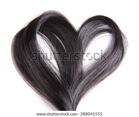 Hair heart, isolated on white - stock photo