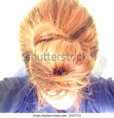hair in a bun - stock photo